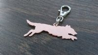 leaping flat coat Flatcoat retriever keyring 3.5cm handmade by saw piercing